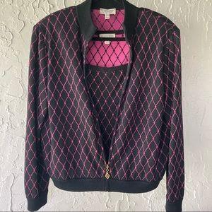 St. John Sport Jacket Top Matching Set Vintage Large Black Pink Coordinating